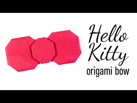 Origami HELLO KITTY Bow Tutorial ♥︎ DIY ♥︎