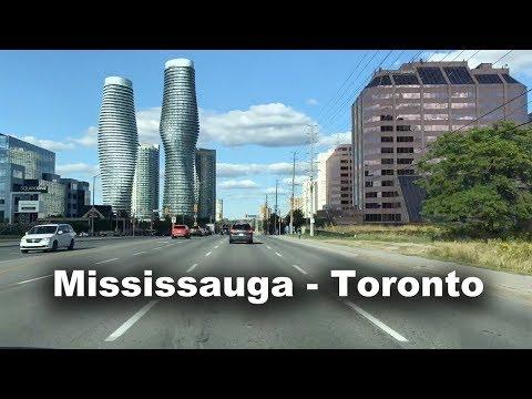 Drive from Mississauga Downtown to Toronto via Etobicoke