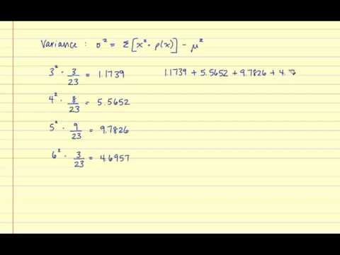 The Mean, Variance and Standard Deviation of a Discrete Probability Distribution
