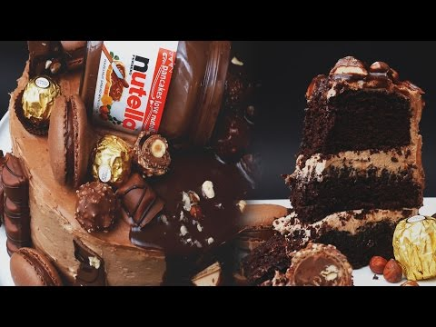 Ultimate Nutella Cake (Kinder Bueno, Ferrero Rocher, Nutella Macarons & Hazelnuts) - Treat Factory