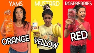 EATING ONLY One Color of FOOD for 24 hours! Who will be Last to Stop eating their color food?