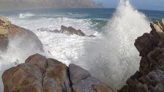 1 hour video of big ocean waves crashing into rocky shore - natural ocean wave sounds - HD 1080P