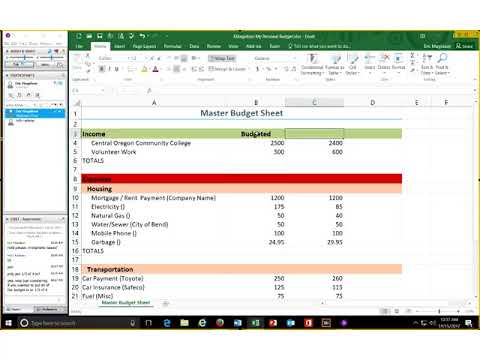 Excel Module 2 - Part 1 - Formulas, Functions, and Formatting (Creating a Personal Budget)