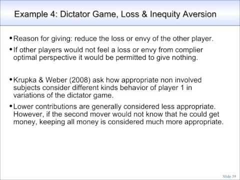 Moral Norms in a Partly Compliant Society (4/5): Dictator Game, Loss Aversion & Envy