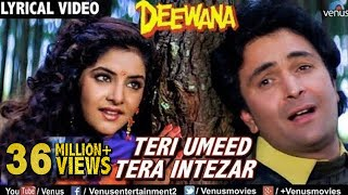 Teri Umeed Tera Intezar - LYRICAL VIDEO | Deewana | Rishi Kapoor, Divya Bharti | 90