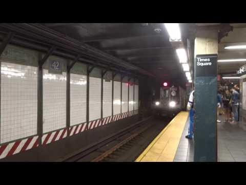 NYC Subway: Coney Island-bound R160 (Q) Entering & Leaving Times Square-42nd Street (A1 Track)
