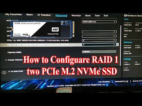 How to configuare RAID 1 two PCIe M 2 NVMe SSD on Mainboad TUF Z270 MARK 1