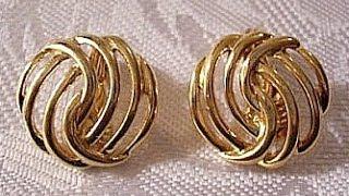 Monet Clip On Earrings Gold Tone Vintage Open Swirl Ribbed