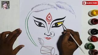 How To Draw Maa Durga Durga Puja Drawing Easy Navratri