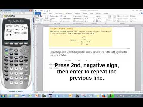 TI-84 Tutorial: How to enter the monthly payment formula correctly