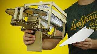 DIY Semi-Automatic Paper Plane Launcher from Cardboard at Home