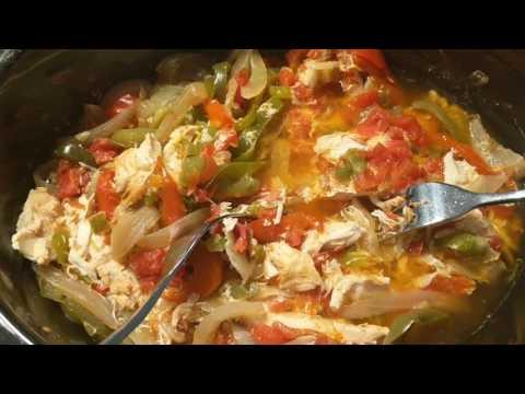 Easy Chicken Fajitas, after 8 hours in Crockpot on low