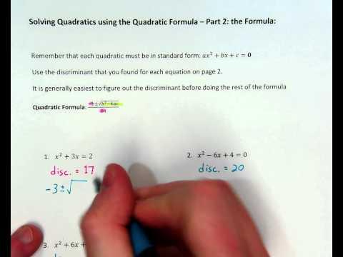 Quadratic Formula ex. 1 (two real solutions)