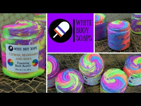 Rainbow Fluffy Whipped Soap Making/Neon Rainbow Foaming Bath Whip/White Buoy Soaps