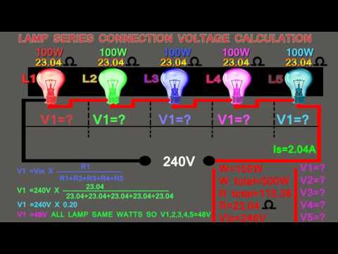lamp series connection same watts voltage calculation,how to calculate series lamp voltage