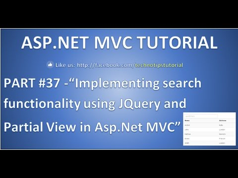 Part 37 - Search record in Asp.net mvc using Jquery and Partial View