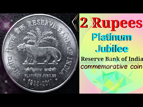 Rs 2 Rupees coin 75th Anniversary of the Reserve Bank of India PLATINUM JUBILEE 1935-2010 coin value