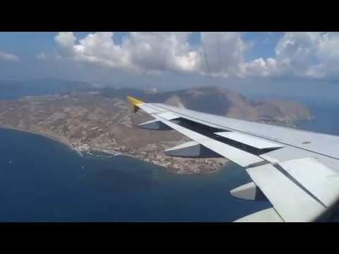 HEAVY Landing in Santorini A320 - Amazing View