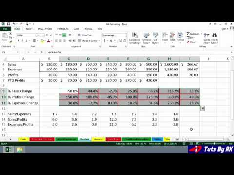 Tuts By RK: Excel 2013 Cell border techniques Formatting-3 (Beginners)