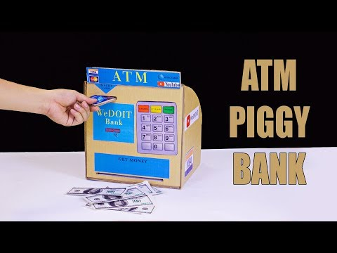 How to make ATM Piggy Bank for Kids - ATM machine from cardboard