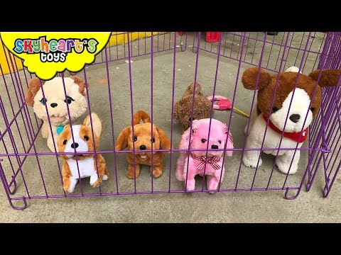 Toddler thinks his DOGS ARE ALIVE! Cute puppy toys for kids children playtime