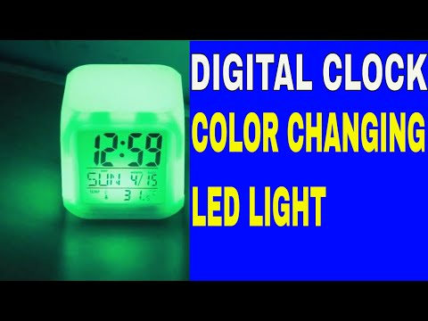 Glowing Cube LED 7 Color Changing Digital Alarm Clock | Clock with multi features.......
