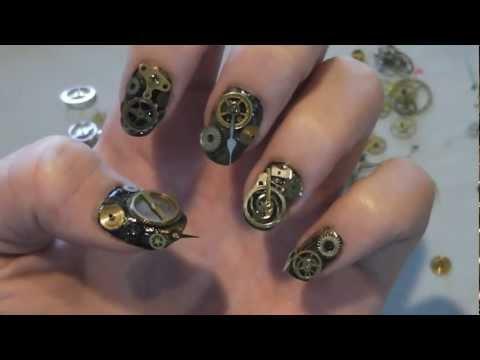 Steampunk Clock Gear Nails!