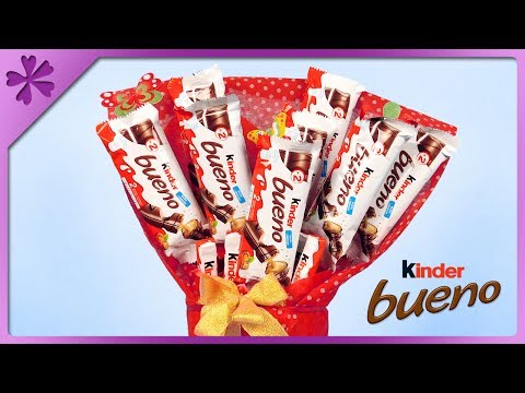 DIY Kinder Bueno chocolate bar bouquet (ENG Subtitles) - Speed up #360