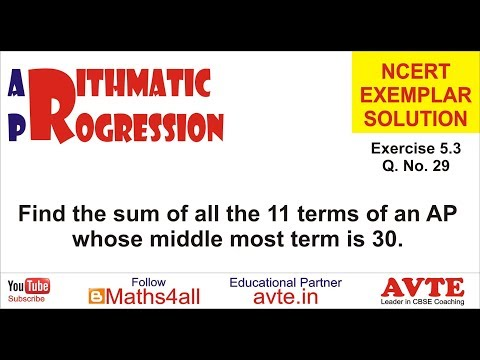 NCERT EXEMPLAR Ex 5.3 Q 29 || Watch Arithmetic Progression NCERT Exemplar Class Tenth *Playlist