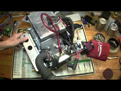 360 view of HFT Predator 212cc racing engine on bench