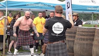 Scottish strongman Andy Cairney wins the Donald Dinnie Games 2019 Ardblair Stones Challenge