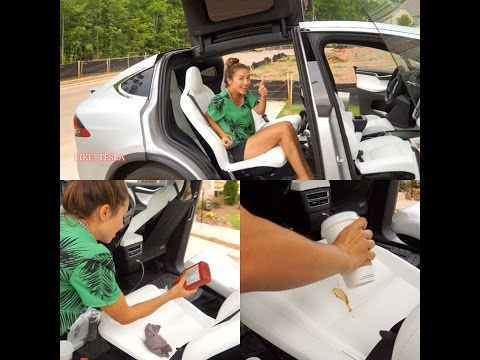 Model X White Seats Tested with Coffee, Ketchup & More!