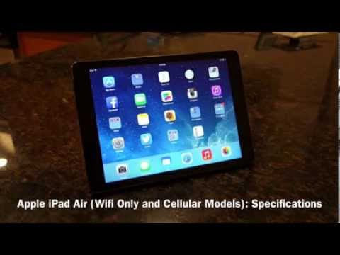 Apple iPad Air (Wifi Only and Cellular): Official Specifications