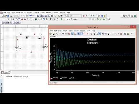 Transient analysis of RLC circuit in multisim 14.0 version