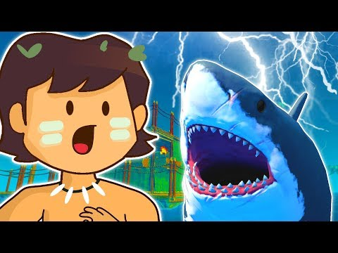SURVIVING SHARK ATTACKS IN MASSIVE STORM! | Raft (New Update Let's Play/Gameplay - Part 1)