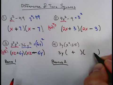 Rev.2C Factoring: Difference of Two Squares