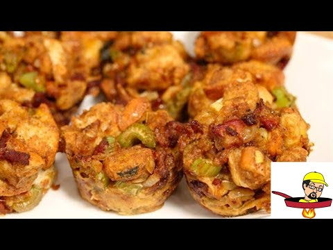 Bourbon Bacon Sage Stuffing Muffins - THANKSGIVING