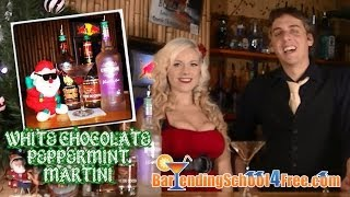 Next up in our series of drink recipes: the White Peppermint Chocolate Martini. This is the BEST way to make a White Peppermint Chocolate Martini! Today we feature Rumpleminz in our drink recipe. For more visit http://www.BartendingSchool4Free.com.  Like the White Peppermint Chocolate Martini? Subscribe to our channel for new shots, shooters, drinks, cocktails, martinis and more drink recipes added every day! You can subscribe by clicking this link: http://www.youtube.com/user/FreeBartendingSchool   You can also follow us on Facebook for great themed drinks and even more bartending tips and tricks that are perfect if you are trying to learn how to be a bartender. Find us on Facebook by clicking this link: https://www.facebook.com/Online.Bartending.School.4.Free?ref=hl  The White Peppermint Chocolate Martini drink recipe is 2 oz. vanilla rum, 2 oz. white creme de cacao, and 1/2 oz. Rumplemintz.