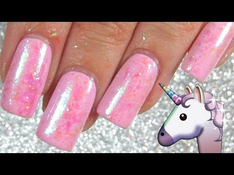 Unicorn Skin Nails Using Magical Shifting Iridescent Flakies
