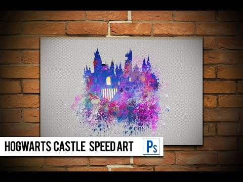 Paint Splatter Hogwarts Castle Using Photoshop CS5 | Speed Art