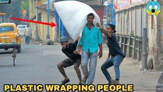 PLASTIC WRAPPING PEOPLE PRANK PART 3! || PRANK IN INDIA || MOUZ PRANK