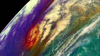 GOES-East Air Mass RGB of West Coast Cyclone