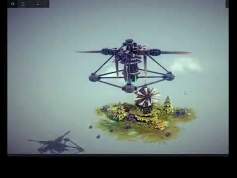 Besiege | How to make simple and powerfull engine for your helicopter with adjustable rotor rod