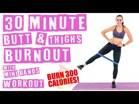 30 Minute Butt and Thighs Burnout With Miniband Workout 🔥Burn 300 Calories! 🔥