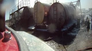 Tank explosion at Tulsa Asphalt captured on helmet camera