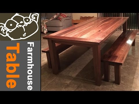 Walnut Farmhouse Table with Breadboard Ends