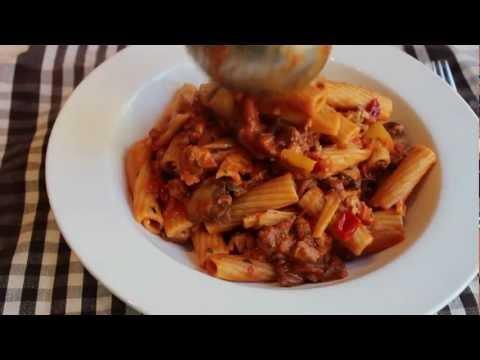 Chicken Riggies - Rigatoni with Spicy Chicken Tomato Cream Sauce