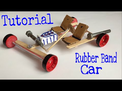 How to make a Car - Rubber Band Powered Car - Tutorial - Very Simple