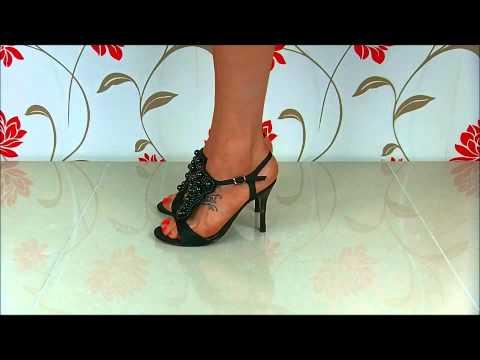 Ladies high heeled black satin shoes