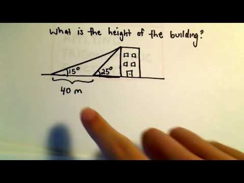 Trigonometry Word Problem, Finding The Height of a Building, Example 1